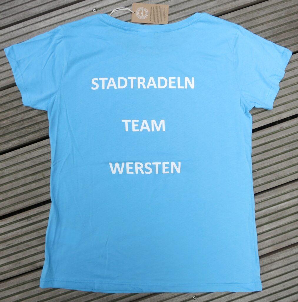 T-Shirt Druck Rückseite: Stadtradeln Team Wersten